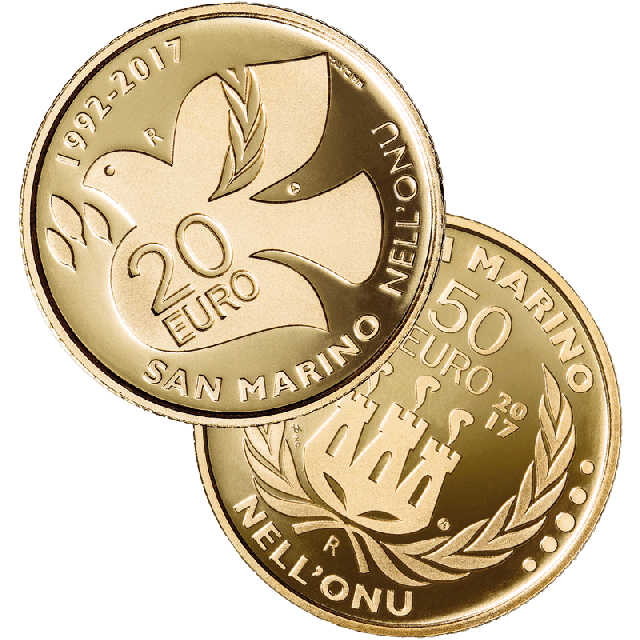 Gold Diptych with 20 and 50 Euro Proof 25th Anniversary of the entry of San Marino in UNO