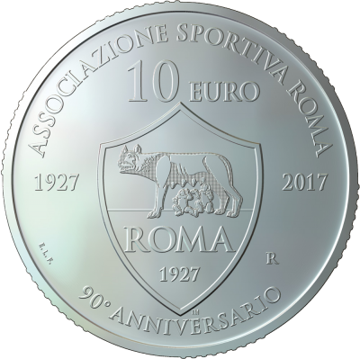 "10 Euro Silver UNCIRCULATED coin ""90th anniversary of the foundation of AS Roma"""