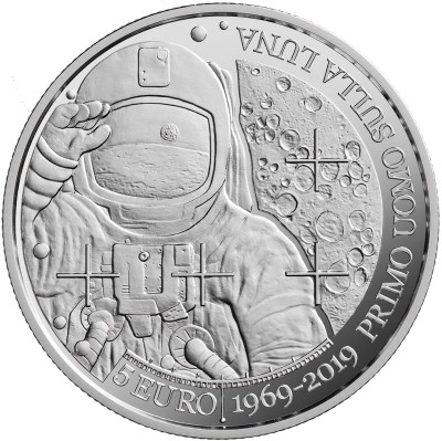 5 Euro Silver Proof Coin 50th Anniversary Of The First Human Moon Landing San Marino