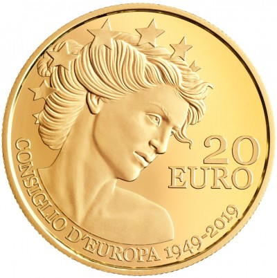 20 Euro Gold Coin Proof 70th Anniversary Of The Council Of Europe San Marino Philatelic Numismatic Office