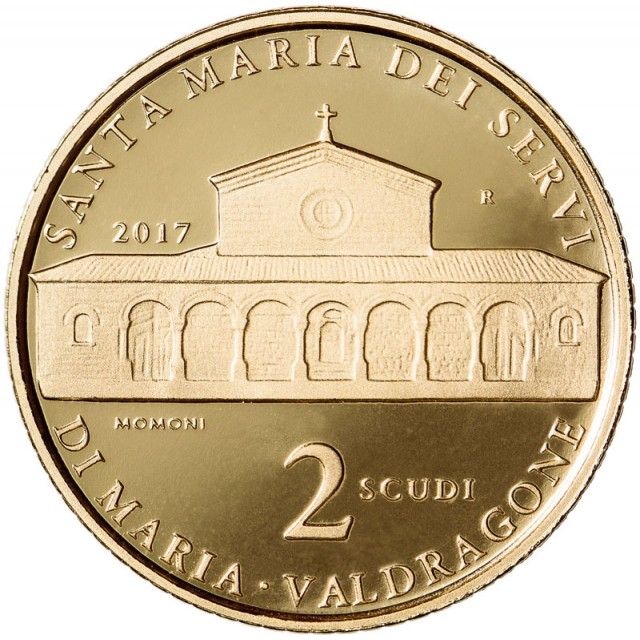 2 scudi gold coin proof: Architecture in San Marino: St. Mary's church of the order servants of Mary in Valdragone